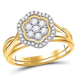 1/3 CTW Round Diamond Bridal Wedding Ring 10kt Yellow Gold - REF-37M5F