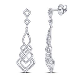 1/2 CTW Womens Round Diamond Interwoven Geometric Dangle Earrings 10kt White Gold - REF-40H8R