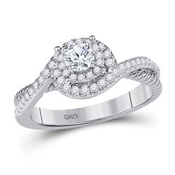 3/8 CTW Round Diamond Solitaire Bridal Wedding Engagement Ring 10kt White Gold - REF-49A6M