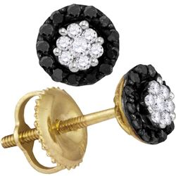 1/4 CTW Womens Round Black Color Enhanced Diamond Cluster Earrings 10kt Yellow Gold - REF-12T2V
