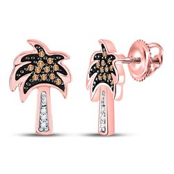 1/8 CTW Womens Round Brown Diamond Palm Tree Earrings 10kt Rose Gold - REF-15M2F