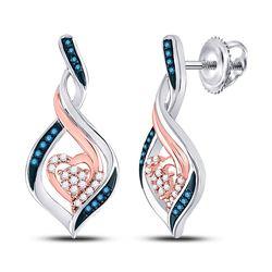 1/6 CTW Womens Round Blue Color Enhanced Diamond Rose-tone Heart Earrings 10kt White Gold - REF-20M5