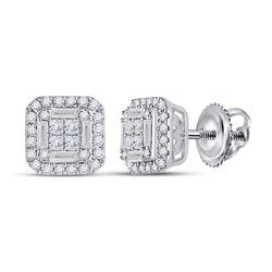 1/2 CTW Womens Baguette Diamond Square Earrings 14kt White Gold - REF-58X5T