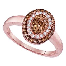 1/4 CTW Womens Round Brown Diamond Oval Cluster Ring 10kt Rose Gold - REF-26W5H