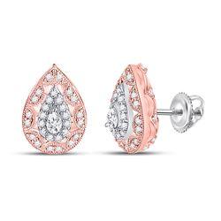 1/2 CTW Womens Pear Diamond Teardrop Halo Earrings 14kt Two-tone Gold - REF-58F5W