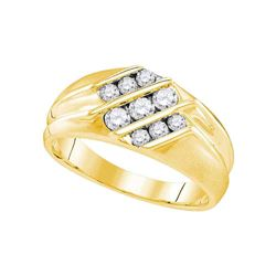 5/8 CTW Mens Round Diamond Wedding Triple Row Band Ring 10kt Yellow Gold - REF-67F4W