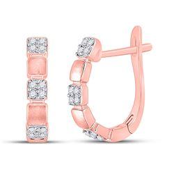 1/10 CTW Womens Round Diamond Hoop Earrings 14kt Rose Gold - REF-20X5T