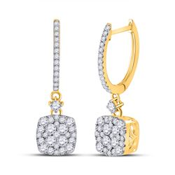 1 CTW Womens Round Diamond Square Dangle Earrings 14kt Yellow Gold - REF-95T5V