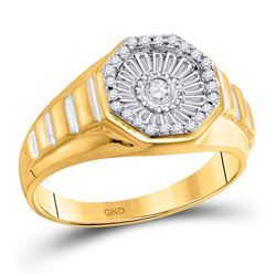 1/2 CTW Mens Round Diamond Two-tone Concave Cluster Ribbed Ring 14kt Yellow Gold - REF-76F9W