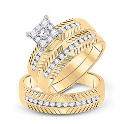 3/4 CTW His Hers Round Diamond Cluster Matching Wedding Set 14kt Yellow Gold - REF-119F2W