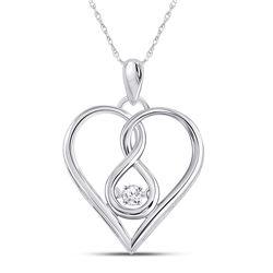1/20 CTW Womens Round Moving Diamond Heart Pendant 10kt White Gold - REF-16V4Y