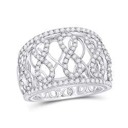 7/8 CTW Womens Round Diamond Fashion Infinity Band Ring 14kt White Gold - REF-95T5V