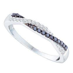 1/4 CTW Womens Round Black Color Enhanced Diamond Slender Twist Band Ring 14kt White Gold - REF-29R4