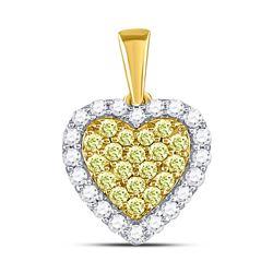 7/8 CTW Womens Round Yellow Diamond Heart Frame Pendant 14kt Yellow Gold - REF-65X4T
