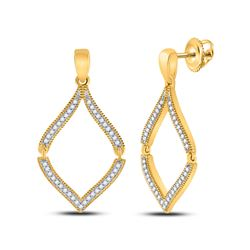1/2 CTW Womens Round Diamond Dangle Earrings 10kt Yellow Gold - REF-24T5V
