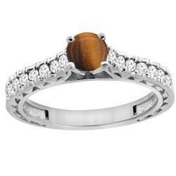 0.90 CTW Tiger Eye & Diamond Ring 14K White Gold - REF-62K5W