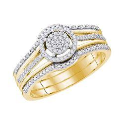 1/4 CTW Round Diamond Cluster Bridal Wedding Ring 10kt Yellow Gold - REF-40T3V