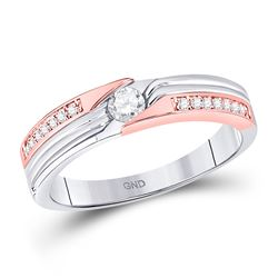 1/3 CTW Womens Round Diamond Solitaire Band Ring 14kt Two-tone Gold - REF-58R5X