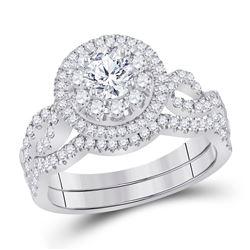 1 CTW Round Diamond Bridal Wedding Ring 14kt White Gold - REF-184F3W