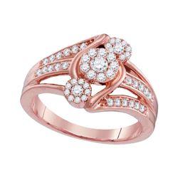 1/2 CTW Womens Round Diamond Triple Flower Cluster Ring 10kt Rose Gold - REF-53R2X