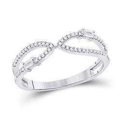 1/6 CTW Womens Baguette Diamond Fashion Ring 14kt White Gold - REF-23F3W