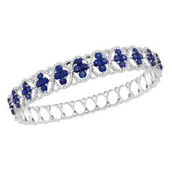 8 & 7/8 CTW Womens Round Blue Sapphire Bangle Bracelet 18kt White Gold - REF-586Y3N