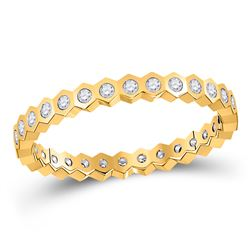 1/4 CTW Womens Round Diamond Band Ring 14kt Yellow Gold - REF-30R5X