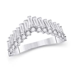 5/8 CTW Womens Baguette Diamond Chevron Band Ring 14kt White Gold - REF-74A9M