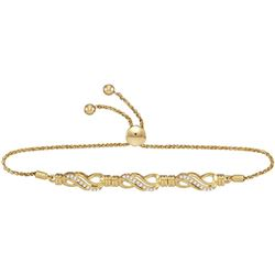 1/6 CTW Womens Round Diamond Crossover Bolo Bracelet 10kt Yellow Gold - REF-43H6R