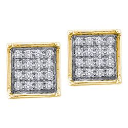 1/20 CTW Womens Round Diamond Square Cluster Earrings 10kt Yellow Gold - REF-8T3V