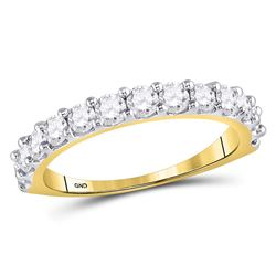 1 CTW Womens Round Diamond Single Row Band Ring 14kt Yellow Gold - REF-95A5M