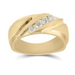 1/2 CTW Mens Round Diamond Wedding Band Ring 14kt Yellow Gold - REF-129R5X