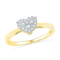 1/6 CTW Womens Round Diamond Simple Heart Cluster Ring 10kt Yellow Gold - REF-21H2R
