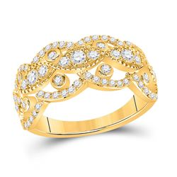 1 CTW Womens Round Diamond Rounded Edge Band Ring 14kt Yellow Gold - REF-88T5V