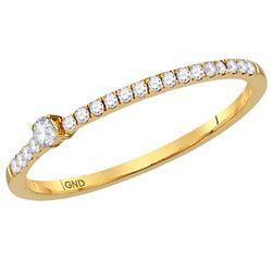 1/8 CTW Womens Round Diamond Solitaire Stackable Band Ring 14kt Yellow Gold - REF-16M4F