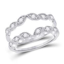 1/3 CTW Womens Round Diamond Milgrain Wrap Ring 14kt White Gold - REF-57H3R