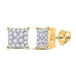 1/4 CTW Womens Round Diamond Square Cluster Earrings 10kt Yellow Gold - REF-22A5M