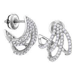 1/2 CTW Womens Round Diamond Lobe Huggie Earrings 10kt White Gold - REF-40M8F