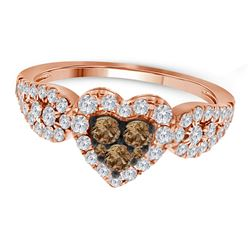 3/4 CTW Womens Round Brown Diamond Heart Cluster Ring 10kt Rose Gold - REF-61R4X