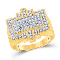 1/2 CTW Womens Round Diamond Domed Cluster Ring 10kt Yellow Gold - REF-55H3R