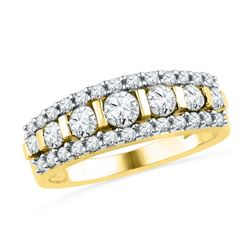 1 CTW Womens Round Channel-set Diamond Striped Band Ring 10kt Yellow Gold - REF-76Y9N