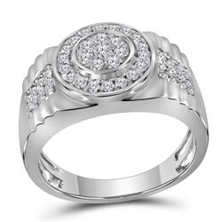 7/8 CTW Mens Round Diamond Ribbed Circle Cluster Ring 10kt White Gold - REF-83V7Y