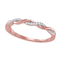 1/12 CTW Womens Round Diamond Twist Stackable Band Ring 10kt Rose Gold - REF-15V2Y
