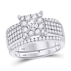 1 & 3/8 CTW Round Diamond Bridal Wedding Ring Band Set 10kt White Gold - REF-129R5X
