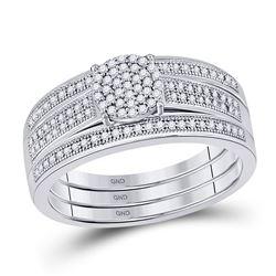 1/4 CTW Diamond Cluster Bridal Wedding Ring 10kt White Gold - REF-37R5X