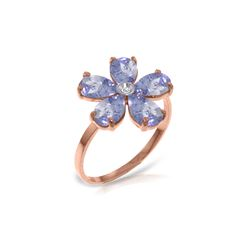 Genuine 2.22 ctw Tanzanite & Diamond Ring 14KT Rose Gold - REF-52R3P