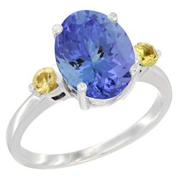 2.63 CTW Tanzanite & Yellow Sapphire Ring 14K White Gold - REF-63H7M