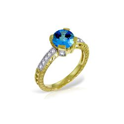 Genuine 1.80 ctw Blue Topaz & Diamond Ring 14KT Yellow Gold - REF-98V3W