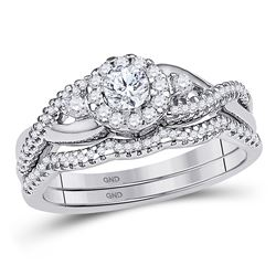1/2 CTW Round Diamond Bridal Wedding Ring 10k White Gold - REF-58M2F