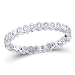 1/4 CTW Womens Round Diamond Band Ring 14kt White Gold - REF-30M5F
